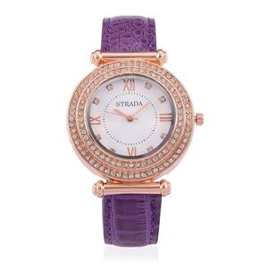 Purple Leather Banded Watch in RG NWT